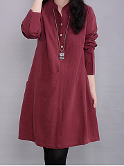 Split-Neck-Solid-Pocket-Shift-Dress