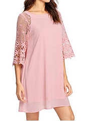 Round Neck  Decorative Lace  Plain Shift Dress