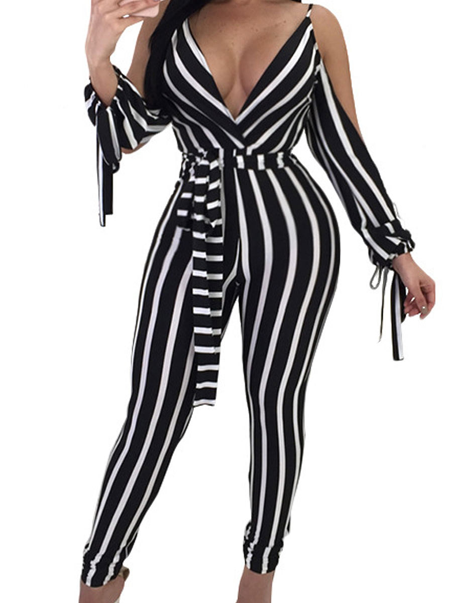 Deep V-Neck Off Shoulder Striped Women Casual Pants