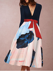 Deep V-Neck  Belt  Abstract Print Colouring Skater Dress