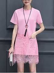 Round-Neck-Patch-Pocket-Patchwork-Plain-Shift-Dress