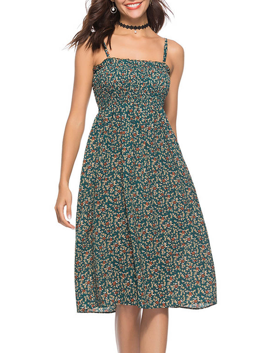 Spaghetti Strap Printed Smocked Bodice Skater Dress