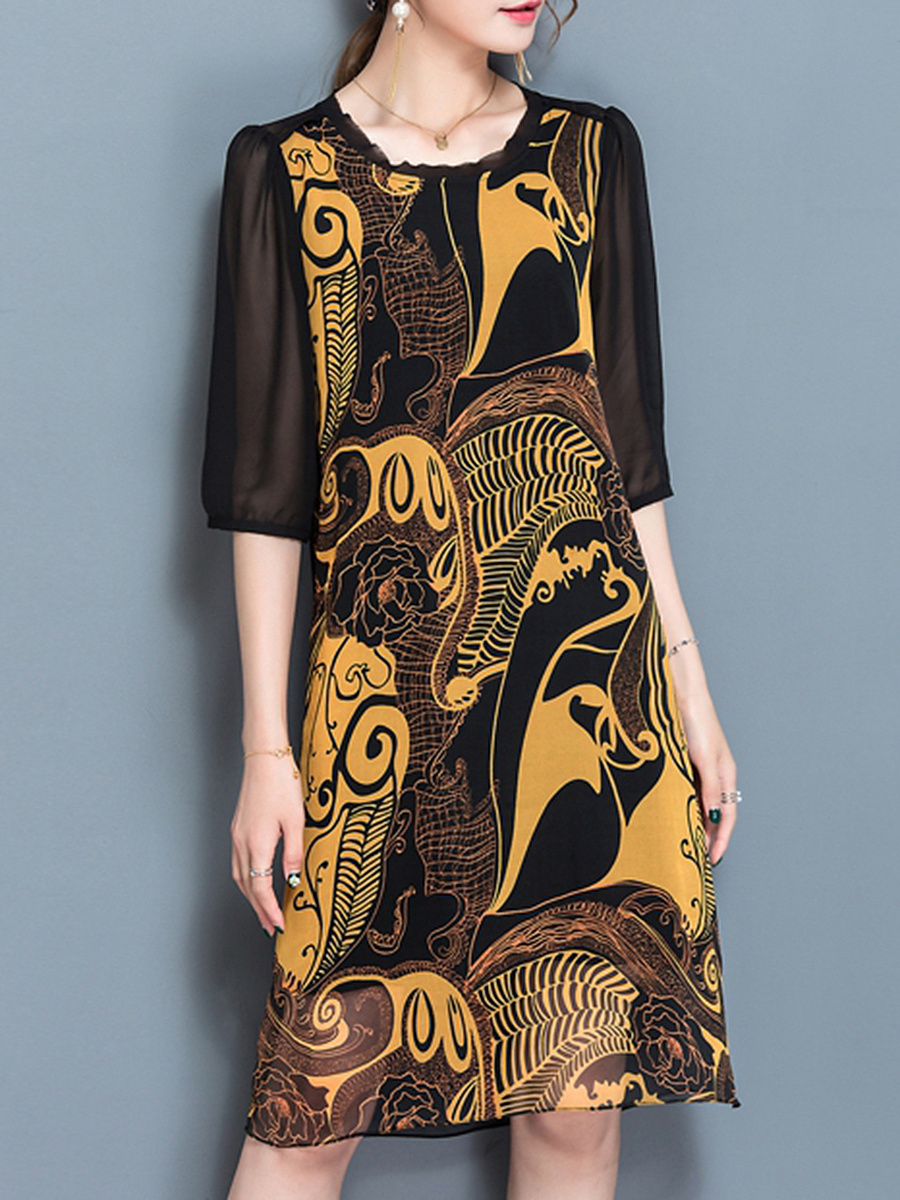 Round Neck Printed Hollow Out Shift Dress