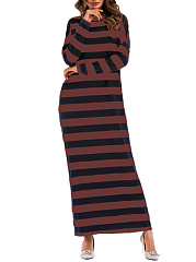 Round Neck  Striped Maxi Dresses