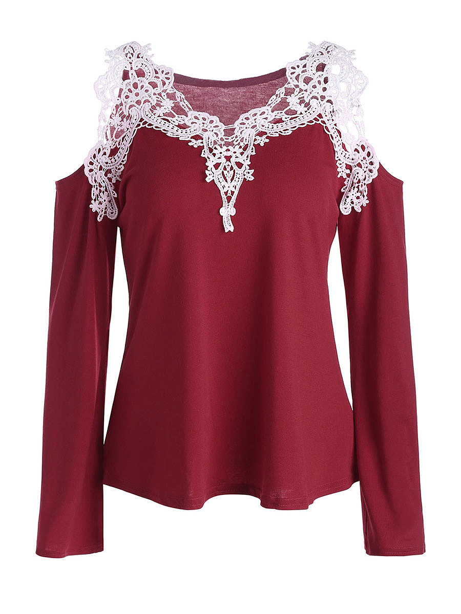 V-Neck  Decorative Lace Patchwork  Plain T-Shirts