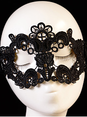 Black Lace Hollow Out Flower Shape Party Mask