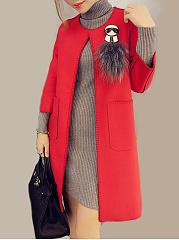 Collarless-Plain-Three-Quarter-Sleeve-Coats