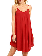 Spaghetti Strap  Plain Shift Dress