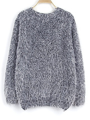 Round Neck Fluffy Plain Pullover