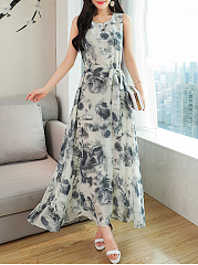 Belt Round Neck Printed Maxi Dress