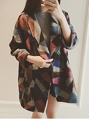 Fold-Over Collar  Abstract Print  Long Sleeve Coats