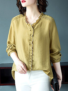 V Neck  Patchwork  Elegant  Plain  Long Sleeve  Blouse