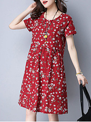 Delicate Round Neck Tiny Floral Printed Shift Dress