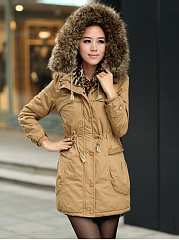 Hooded Drawstring Patch Pocket Longline Coat
