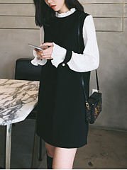 Crew Neck  Color Block Date Shift Dress