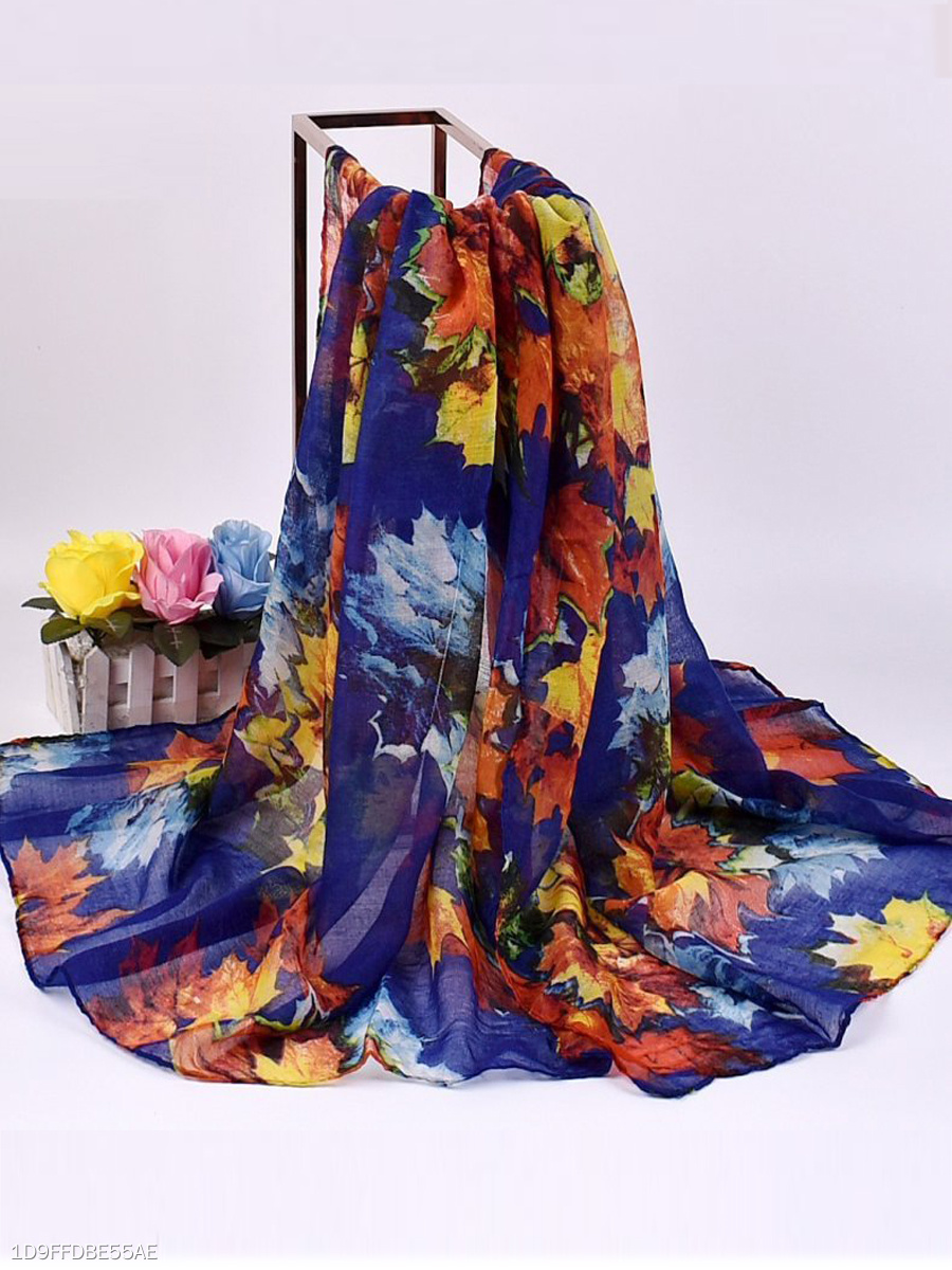 Women Voile Painting Printed Long Soft Scarf Casual Thin Warm Shawl Scarves