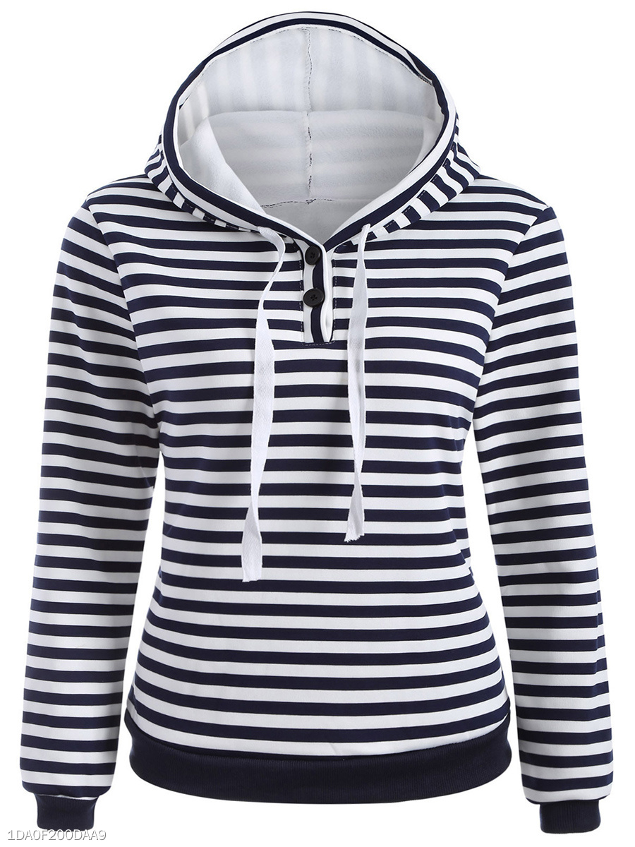 Basic Drawstring  Striped Hoodie
