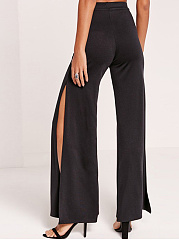 Embroidery Patch Wide-Leg High-Rise Slit Casual Pants