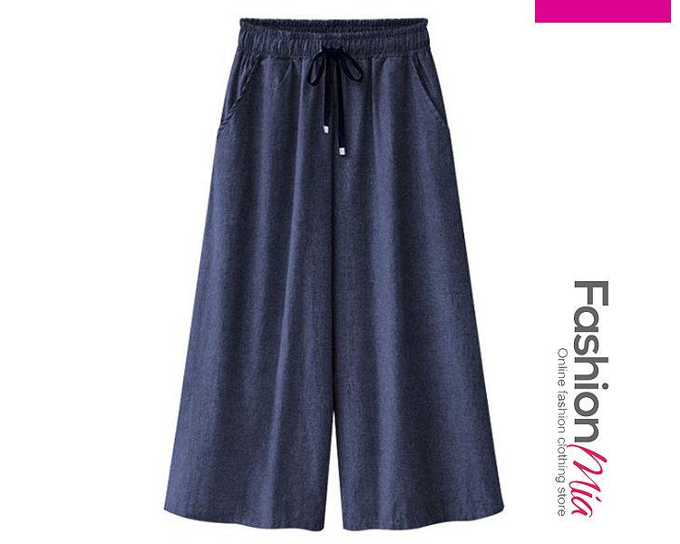 Plain  High-Rise Casual Pants For Women