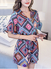 Colorful-Printed-V-Neck-Drawstring-Romper
