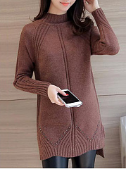 High Neck Plain Striped Side-Vented Sweater