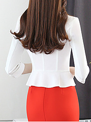 Collarless Single Button Plain Short Blazer