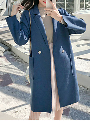 Lapel  Slit Pocket  Decorative Button  Plain  Long Sleeve Coats