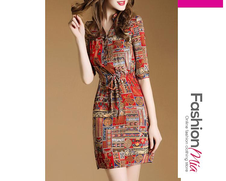Image of V Neck Drawstring Side Slit Printed Bodycon Dress