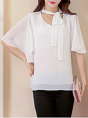 Summer  Polyester  Women  Asymmetric Neck  Bowknot  Plain  Batwing Sleeve  Short Sleeve Blouses