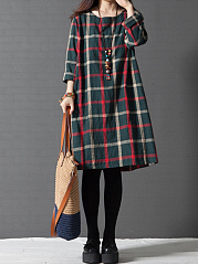 Round-Neck-Plaid-Pocket-Shift-Dress