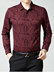 Turn Down Collar Printed Gentlemen Shirts