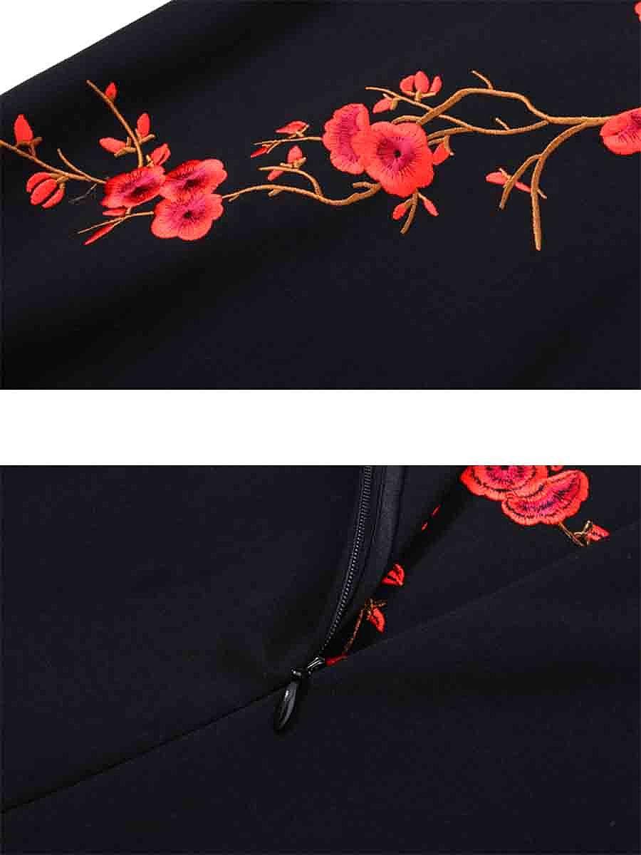 Band Collar Embroidery Slit Midi Bodycon Dress