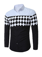 Trendy Color Block Plaid Men Shirt With Long Sleeve