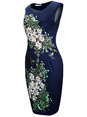 Chic Floral Printed Round Neck Bodycon Dress