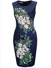 Chic-Floral-Printed-Round-Neck-Bodycon-Dress