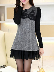 Round-Neck-Patchwork-Decorative-Lace-Woolen-Mini-Shift-Dress