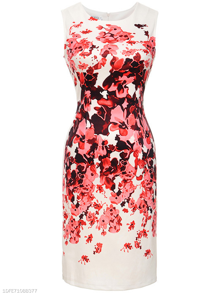 Chic Floral Printed Round Neck Slit Bodycon Dress