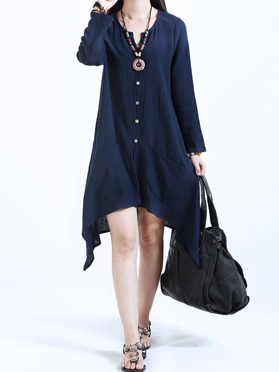 Split Neck Asymmetric Hem Plain Patch Pocket Shift Dress