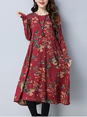 Round-Neck-Printed-Cotton-Maxi-Dress