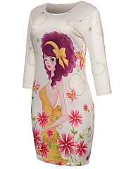 Round Neck Lovely Cartoon Floral Printed Bodycon Dress