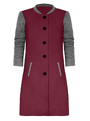 Band-Collar-Single-Breasted-Color-Block-Woolen-Jacket