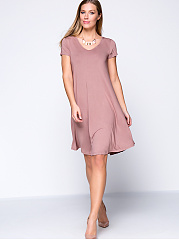 Solid Color Basic V-Neck Plus Size Shift Dress