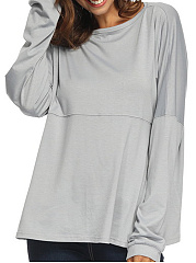 Boat Neck  Loose Fitting  Plain  Batwing Sleeve Long Sleeve T-Shirts