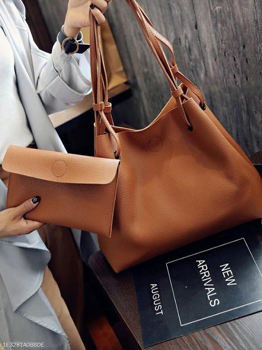7bafc2227dd1 Two Pieces Chic Fashion Plain Hand Bag - fashionMia.com