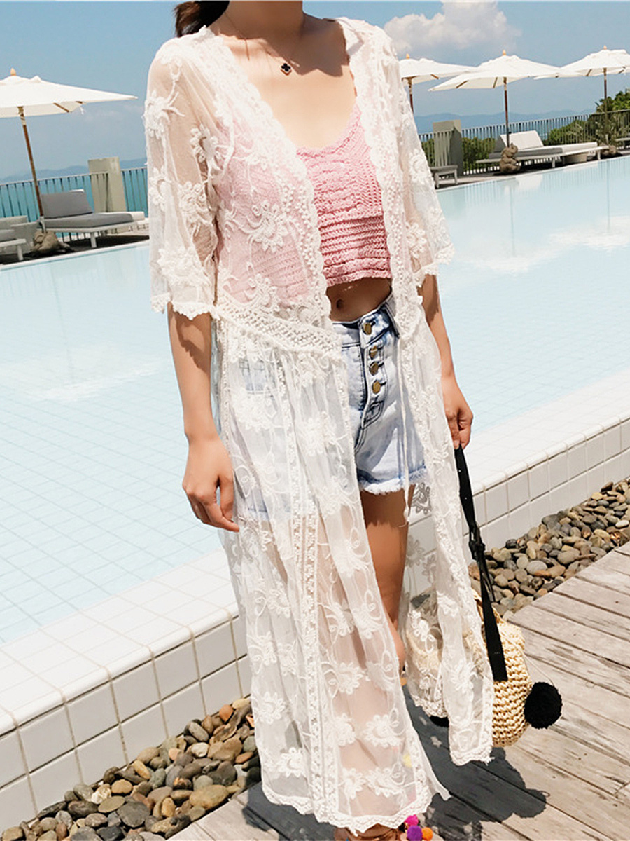 Longline See-Through Crochet Lace Plain Kimono