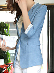 Notch Lapel  Decorative Lace  Single Button Blazer