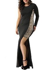 Round-Neck-Patchwork-Plain-Polyester-Maxi-Dress