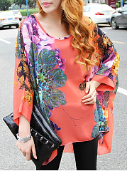 Round Neck See-Through Floral Batwing Sleeve Tunic