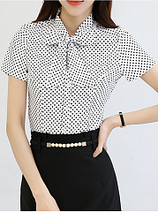 Tie Collar Bowknot Polka Dot Blouse
