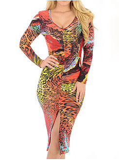 Scoop Neck  High Slit  Multi-Way  Abstract Print Bodycon Dress